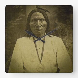 Cheyenne Indian Scout Vintage Stereoview Card Square Wall Clock