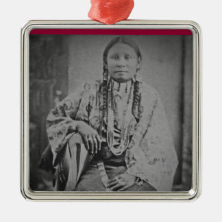 Cheyenne Indian Woman Vintage Stereoview Card Square Metal Christmas Ornament