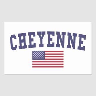 Cheyenne US Flag Rectangular Sticker