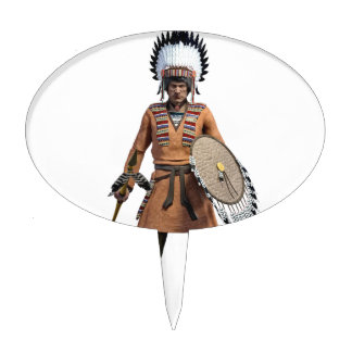 Cheyenne Warrior Chief Standing His Ground Cake Topper