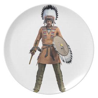 Cheyenne Warrior Chief Standing His Ground Melamine Plate
