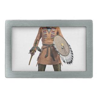 Cheyenne Warrior Chief Standing His Ground Rectangular Belt Buckle