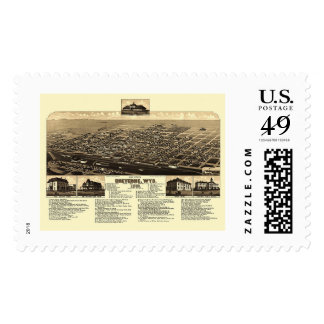 Cheyenne, WY Panoramic Map - 1882 Postage Stamp