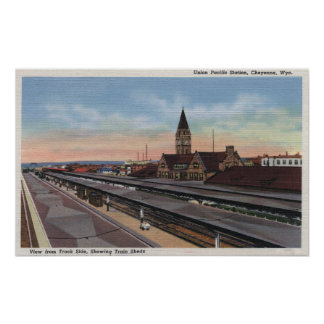 Cheyenne, WY - Union Pacific Railroad Station Poster