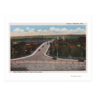 Cheyenne, WY - Viaduct & Main Outlet for Motor Postcard