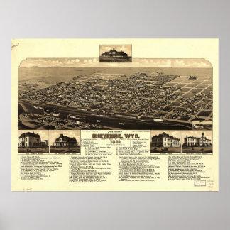 Cheyenne Wyoming 1882 Antique Panoramic Map Poster