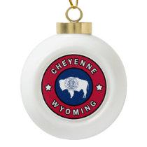 Cheyenne Wyoming Ceramic Ball Christmas Ornament