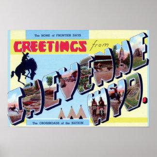Cheyenne Wyoming Vintage Tourism 1950 Poster