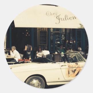 CHez Julien Picturesque Cafe in Paris, France Classic Round Sticker