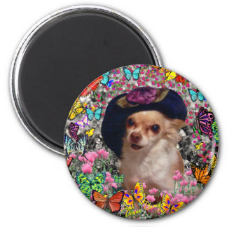 Chi Chi in Butterflies - Chihuahua 2 Inch Round Magnet