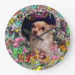 Chi Chi in Butterflies  - Chihuahua in Cute Hat Clocks