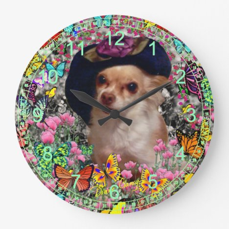 Chi Chi in Butterflies  - Chihuahua in Cute Hat Large Clock