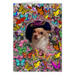 Chi Chi in Butterflies  - Chihuahua Puppy in Hat Greeting Card