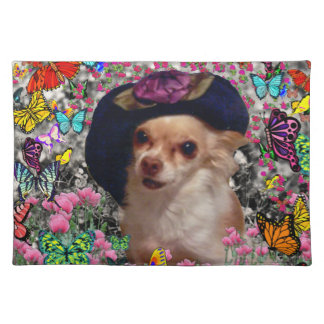 Chi Chi in Butterflies  - Chihuahua Puppy in Hat Cloth Placemat