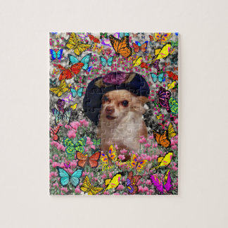 Chi Chi in Butterflies  - Chihuahua Puppy in Hat Jigsaw Puzzle