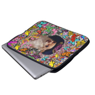 Chi Chi in Butterflies  - Chihuahua Puppy in Hat Laptop Sleeve