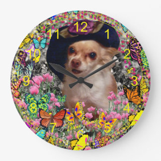 Chi Chi in Butterflies  - Chihuahua Puppy in Hat Large Clock