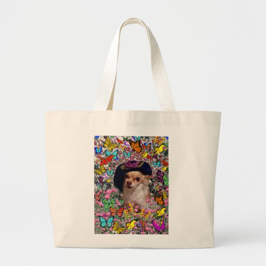 Chi Chi in Butterflies  - Chihuahua Puppy in Hat Large Tote Bag