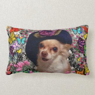 Chi Chi in Butterflies  - Chihuahua Puppy in Hat Lumbar Pillow