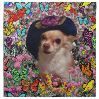 Chi Chi in Butterflies  - Chihuahua Puppy in Hat Napkin