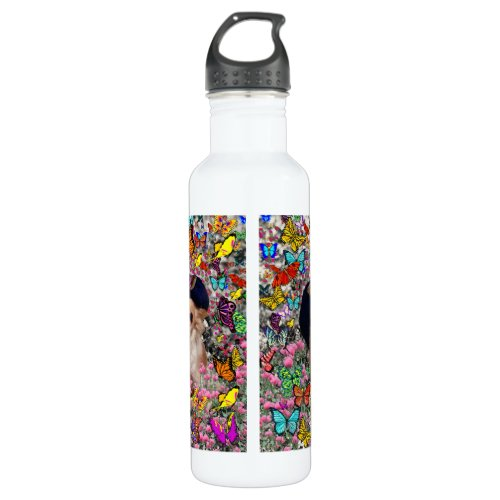 Chi Chi in Butterflies  - Chihuahua Puppy in Hat Stainless Steel Water Bottle