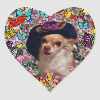 Chi Chi in Butterflies  - Chihuahua Puppy in Hat Heart Sticker