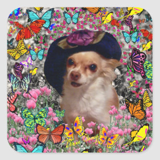 Chi Chi in Butterflies  - Chihuahua Puppy in Hat Square Sticker
