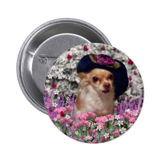 Chi Chi in Flowers Button - Chihuahua