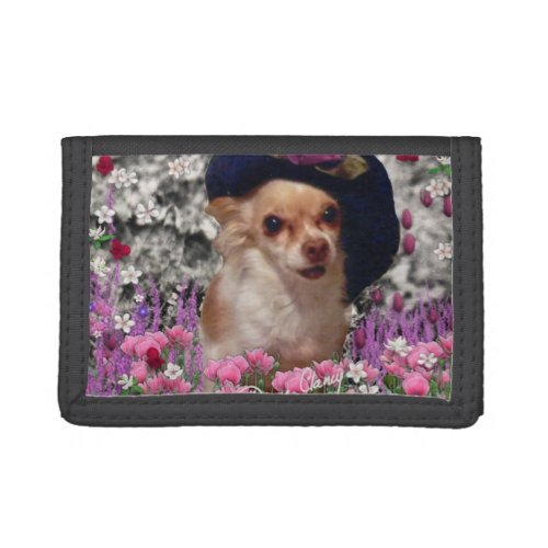 Chi Chi in Flowers, Chihuahua Puppy Dog, Cute Hat Trifold Wallet