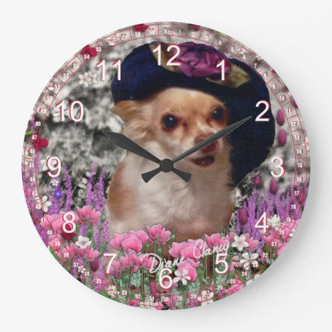 Chi Chi in Flowers  - Chihuahua Puppy Dog Large Clock