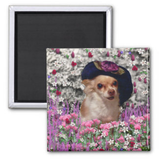 Chi Chi in Flowers  - Chihuahua Puppy in Cute Hat 2 Inch Square Magnet
