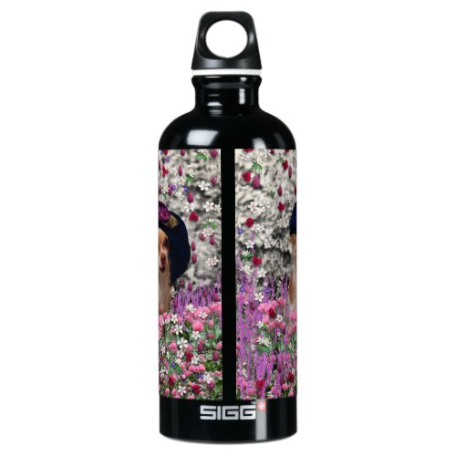 Chi Chi in Flowers  - Chihuahua Puppy in Cute Hat Aluminum Water Bottle