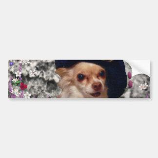 Chi Chi in Flowers  - Chihuahua Puppy in Cute Hat Bumper Sticker
