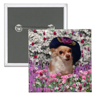 Chi Chi in Flowers  - Chihuahua Puppy in Cute Hat Button