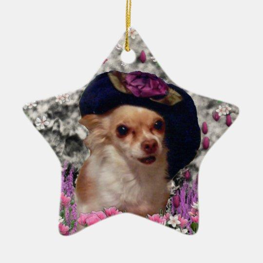 Chi Chi in Flowers  - Chihuahua Puppy in Cute Hat Ceramic Ornament