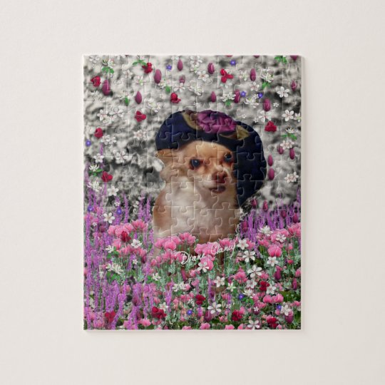 Chi Chi in Flowers  - Chihuahua Puppy in Cute Hat Jigsaw Puzzle