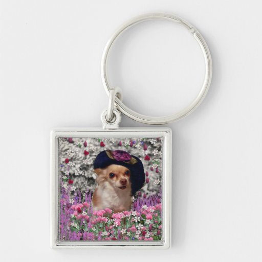 Chi Chi in Flowers  - Chihuahua Puppy in Cute Hat Key Chain