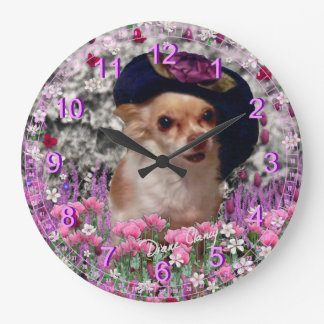 Chi Chi in Flowers  - Chihuahua Puppy in Cute Hat Large Clock