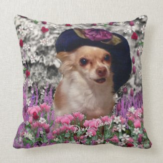 Chi Chi in Flowers - Chihuahua Puppy in Cute Hat Throw Pillow