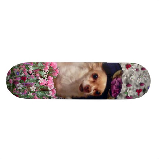 Chi Chi in Flowers  - Chihuahua Puppy in Cute Hat Skateboard Deck