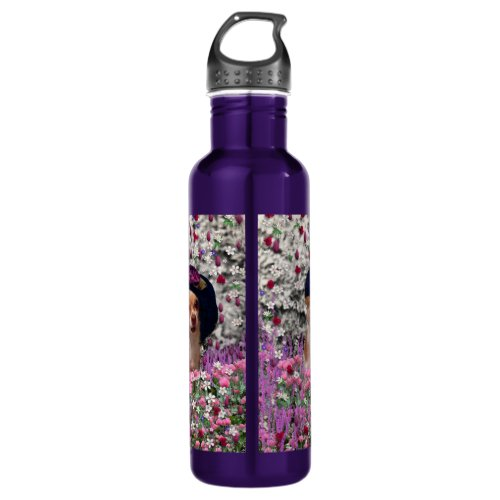 Chi Chi in Flowers  - Chihuahua Puppy in Cute Hat Water Bottle