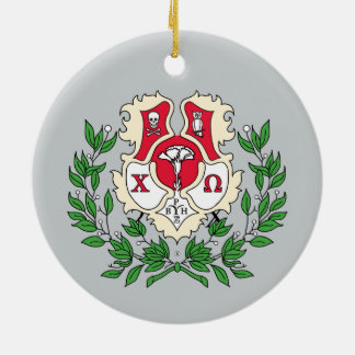 Chi Omega Crest Ceramic Ornament