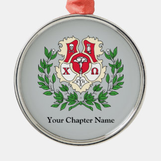Chi Omega Crest Metal Ornament