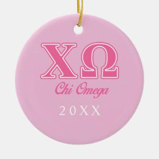 Chi Omega Pink Letters Ceramic Ornament