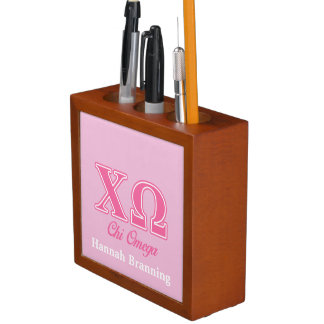 Chi Omega Pink Letters Desk Organizers