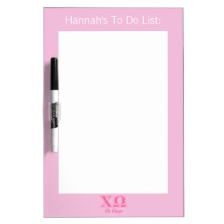 Chi Omega Pink Letters Dry-Erase Whiteboards