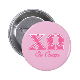Chi Omega Pink Letters Pinback Button
