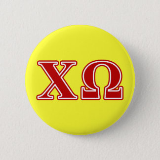 Chi Omega Red Letters Button