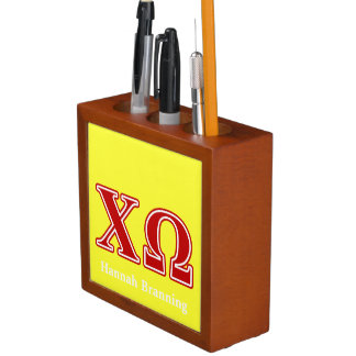 Chi Omega Red Letters Desk Organizers