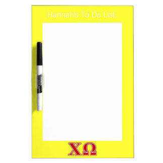Chi Omega Red Letters Dry-Erase Whiteboard